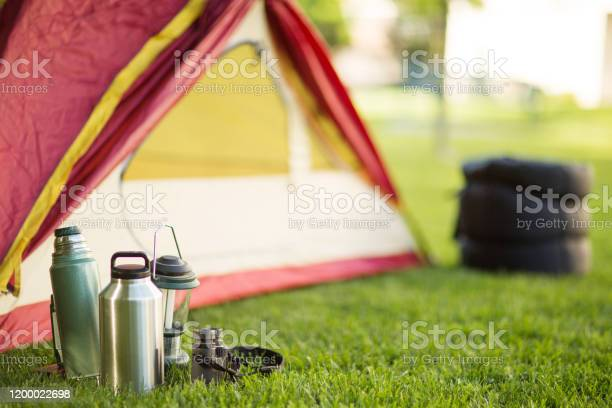 Camping Background Of A Tent With Copy Space Stock Photo - Download Image Now