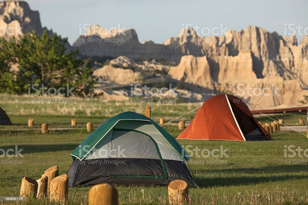 Camping Badlands National Park South Dakota stock photo
