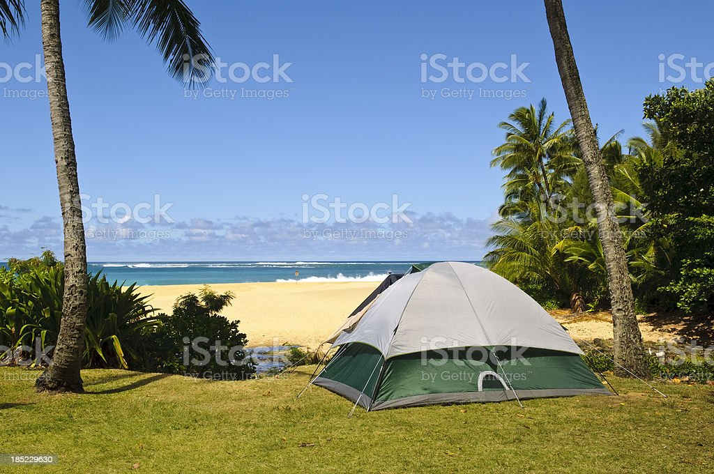 Camping beside beach stock photo