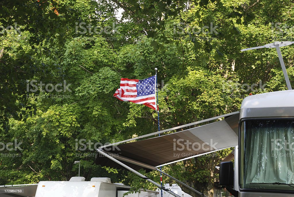 Camping:  Blowing flag royalty-free stock photo
