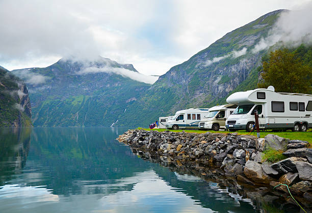 camping by fjord - motorhome stock photos and pictures