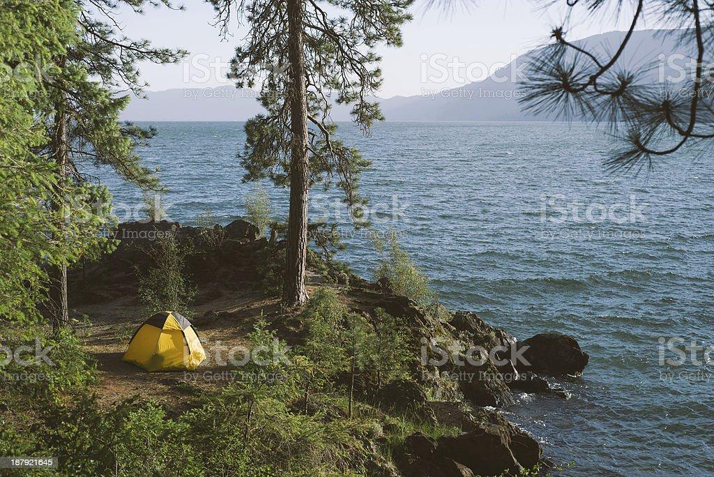 Camping By Lake stock photo