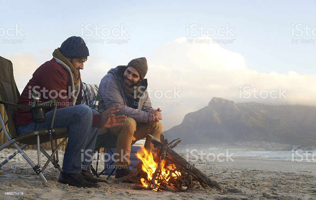 Camping by the ocean stock photo