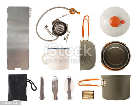Top view of camping cooking pots, cutlery and gas equipment isolated on white background. Kitchen utensil set for travel