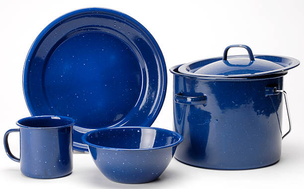 camping cookware set stock photo