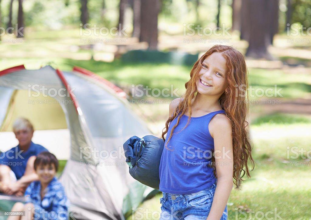 Camping cutey stock photo