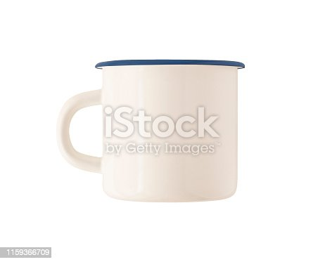 Mockup of camping enamel mug with blue rim isolated on white background