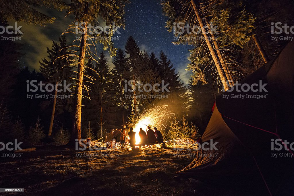 Camping Fire stock photo