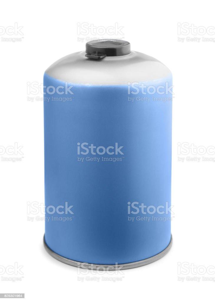 Camping gas cartridge stock photo