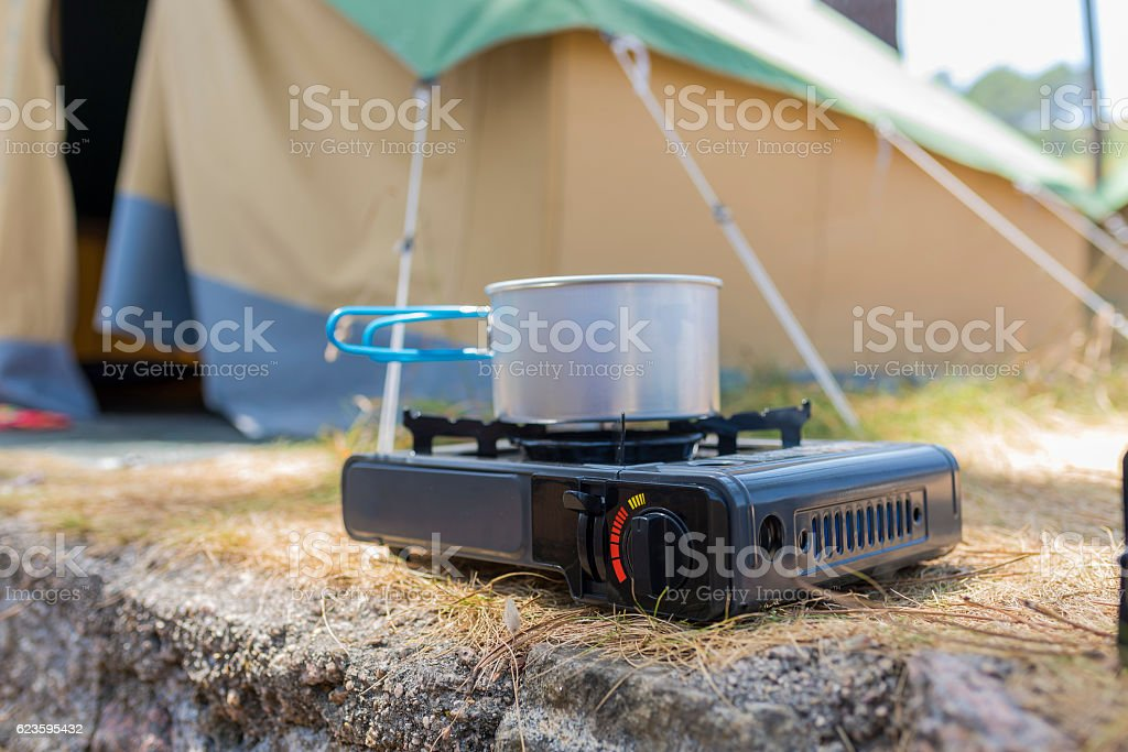 Camping gas cooker. stock photo