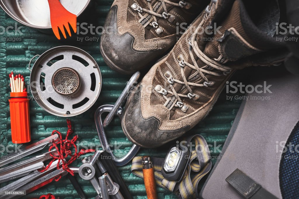 camping gear stock photo
