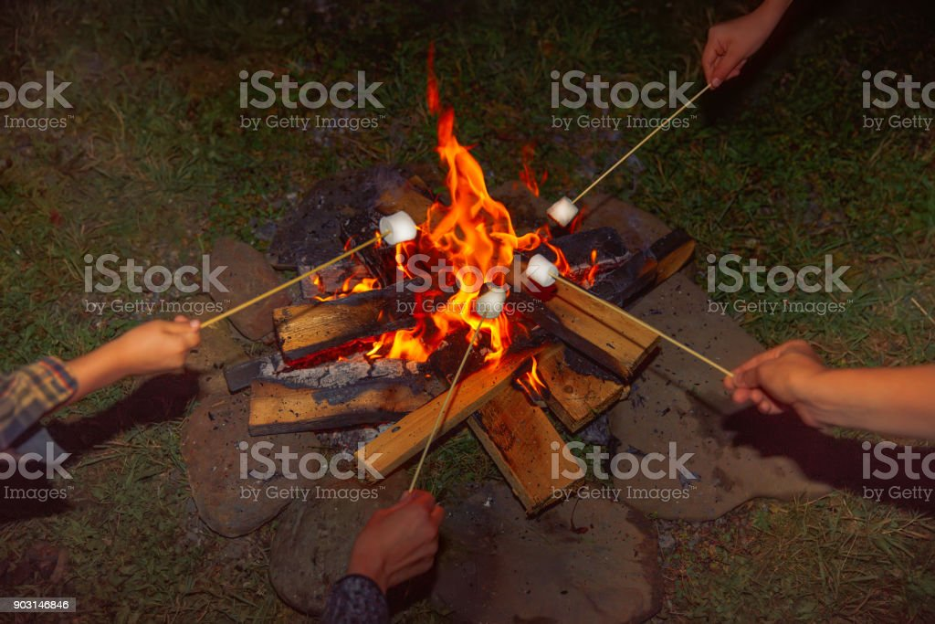 Camping grill marshmallow stock photo