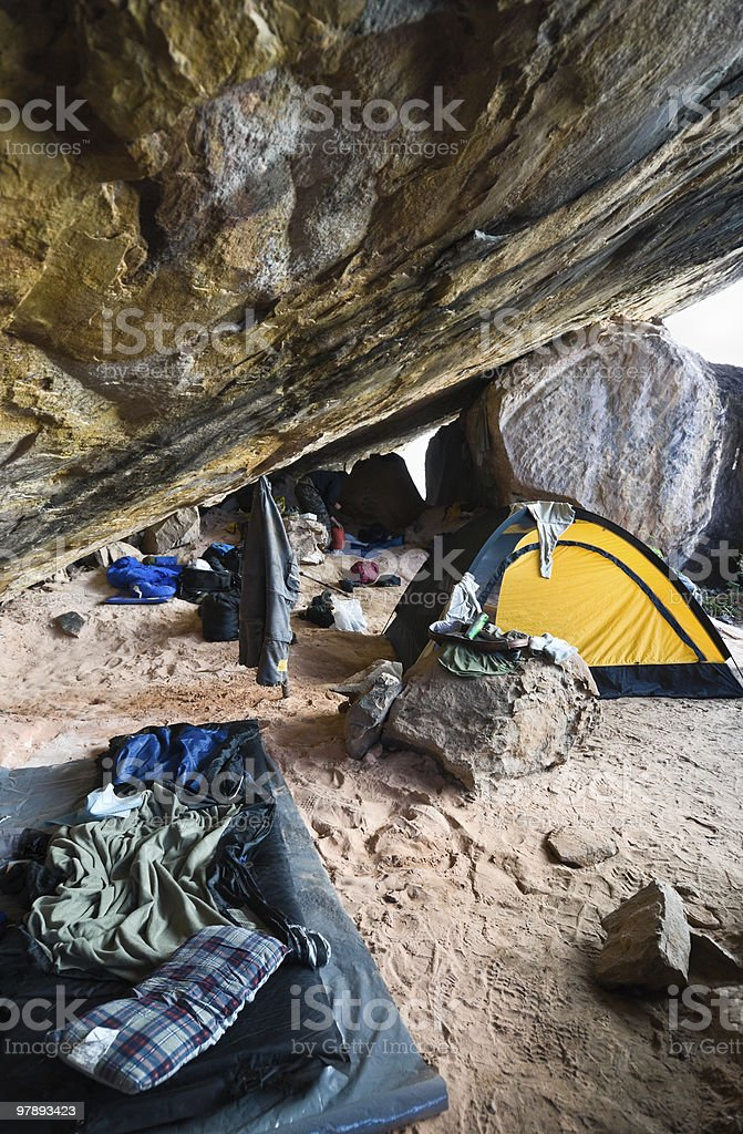 Camping in a Cave royalty-free stock photo