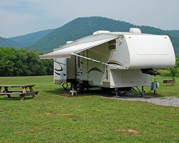 Camping in a Fifth Wheel Trailer stock photo