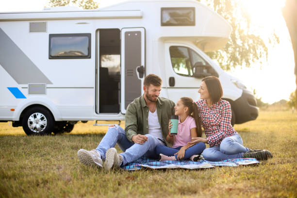 Camping in a RV stock photo