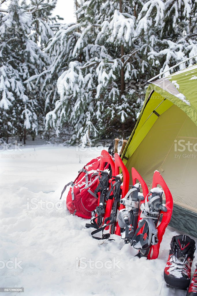 Camping in a tent in the woods with a backpack. royalty-free stock photo