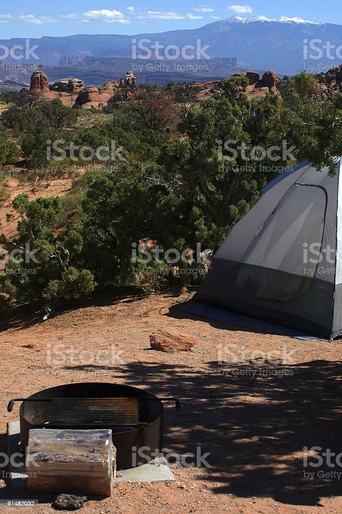Camping in Arches National Park stock photo