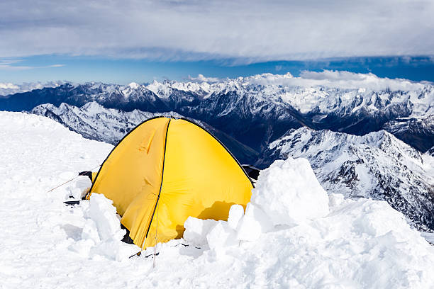 Camping in Caucasus Mountains on Elbrus landscape stock photo