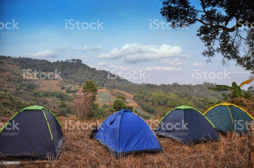 Camping in Chiangmai Thailand stock photo