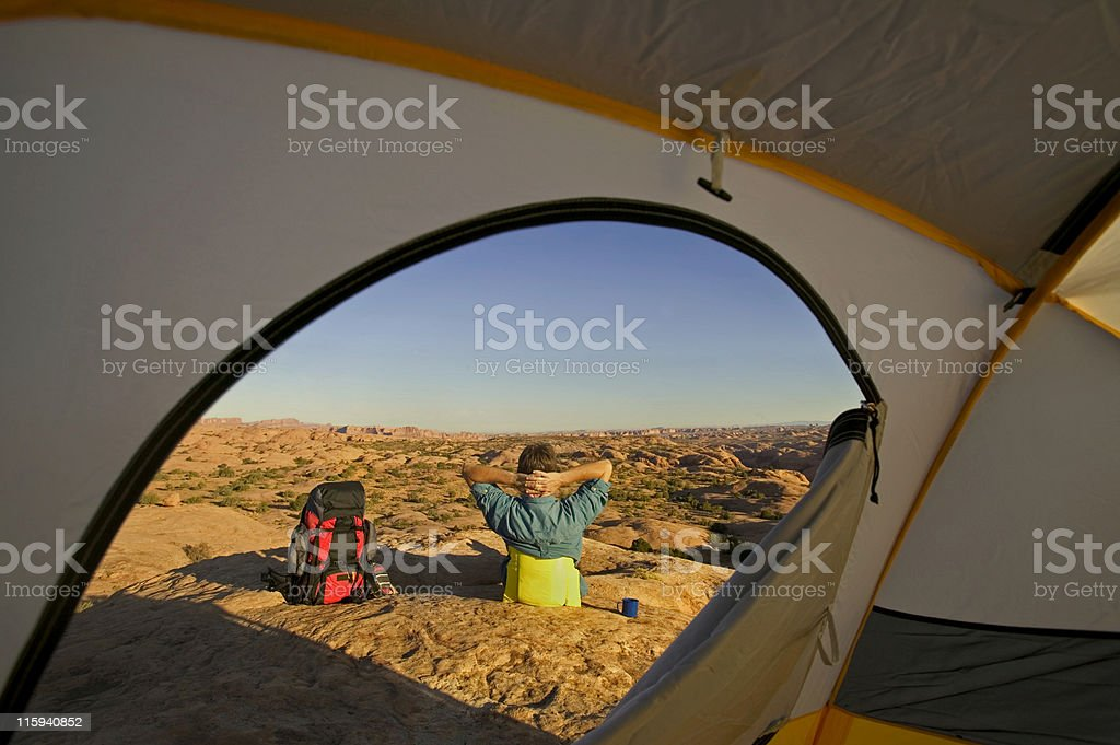 Camping in Desert of Utah royalty-free stock photo
