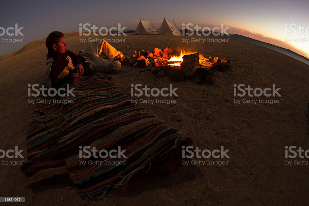 Camping In Desert stock photo