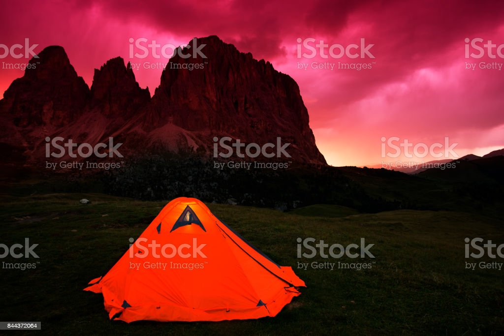 Camping in Dolomites Alps, Italy stock photo
