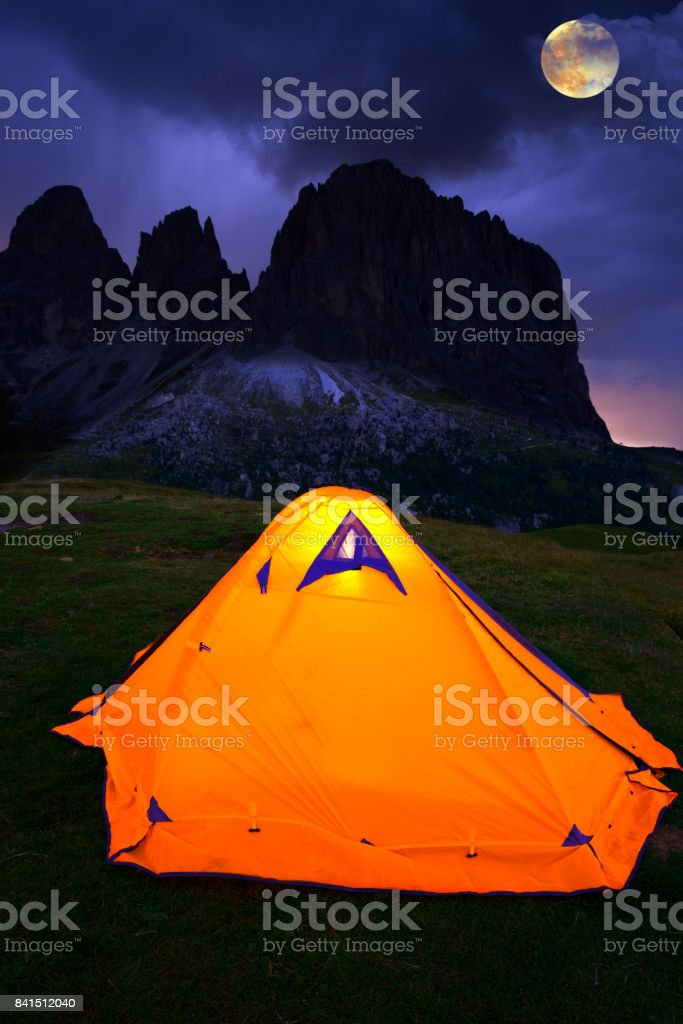 Camping in Dolomites Alps stock photo