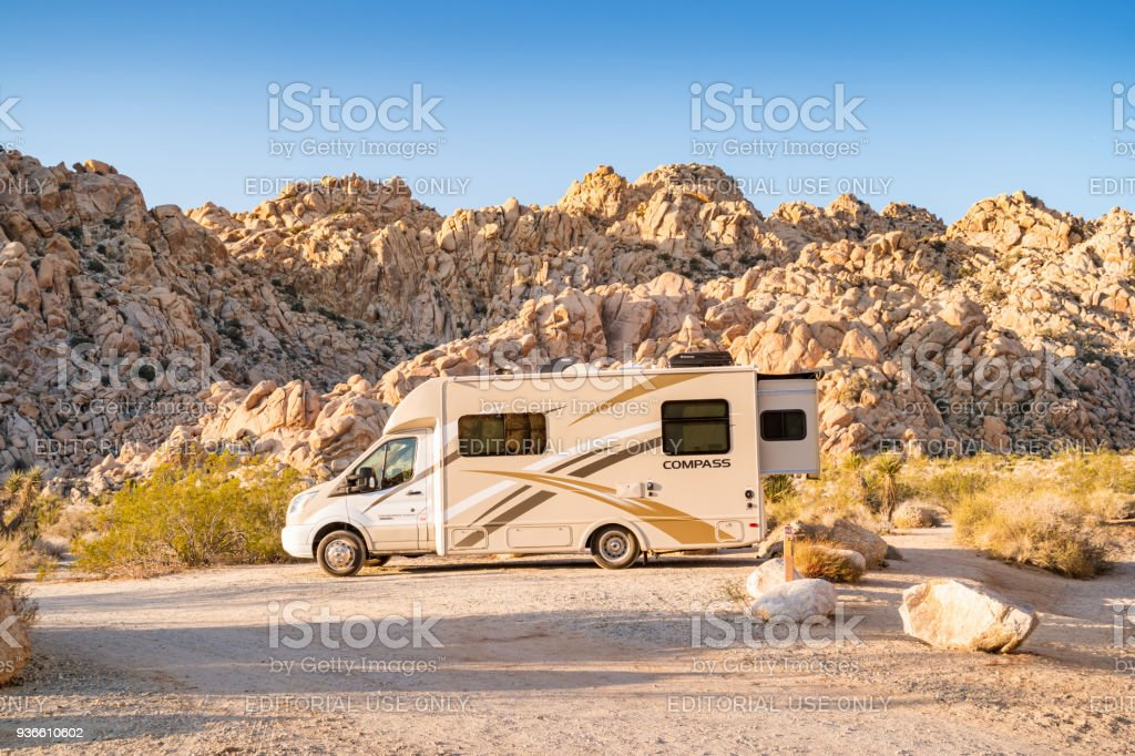 Rv Camping In Joshua Tree National Park California Stock