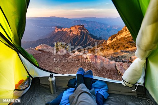 Looking at the view of Sierra Gorda of Queretaro from inside of a Camping Tent. Mexico