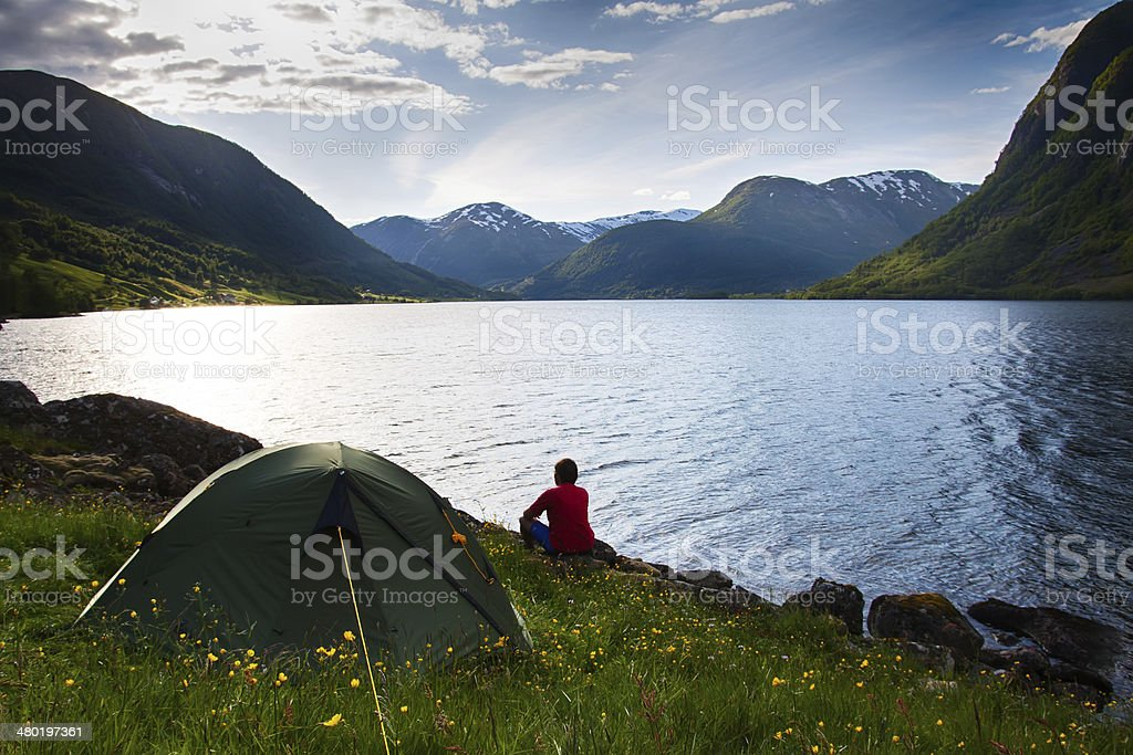 camping  in mountains near lake royalty-free stock photo