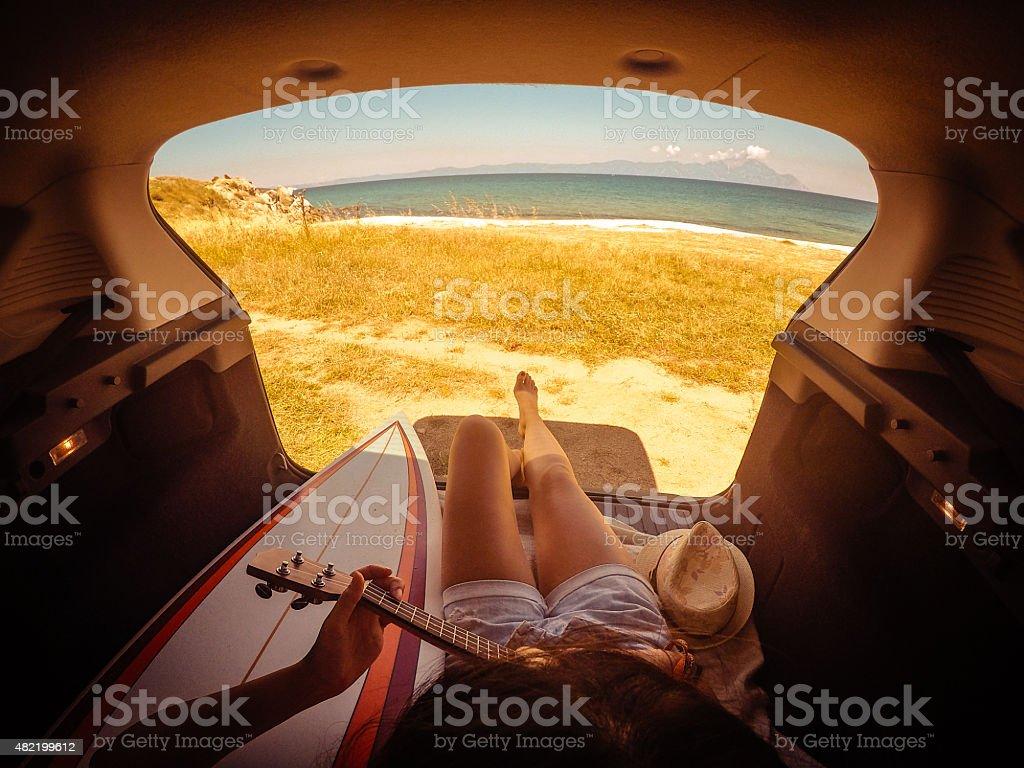Camping in my van stock photo