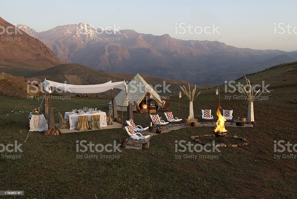 camping in nature stock photo