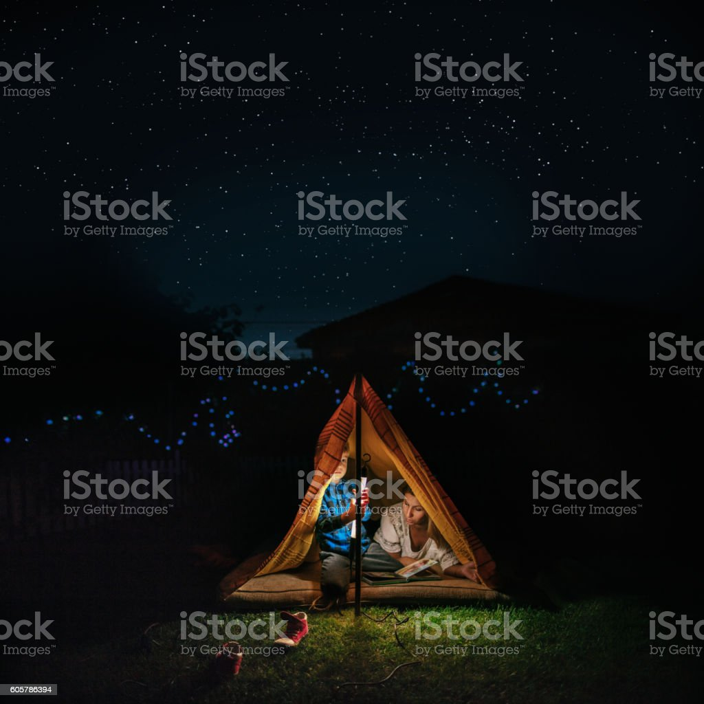 Camping in our backyard stock photo