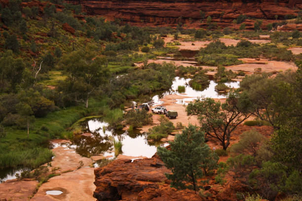 camping in Palm Valley, Central Australia stock photo