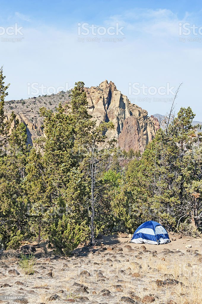 Camping in Smith Rock State Park royalty-free stock photo
