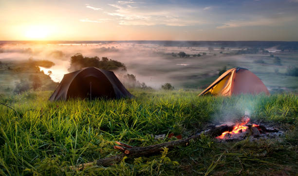 Camping in steppe stock photo