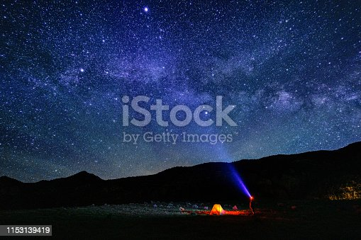 Camping in Tent Below the Milky Way Galaxy - Scenic night sky views of Milky Way galaxy and dark skies with many stars crisply visible.