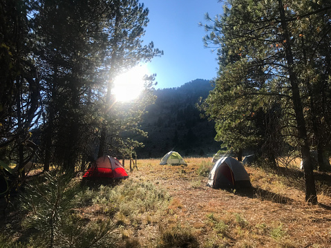 istock Camping in tents as sun crests the mountain 1030133470
