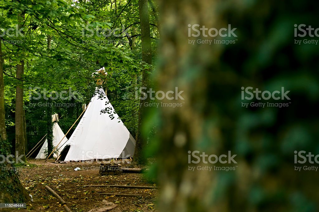 tepee tents in forest stock photo