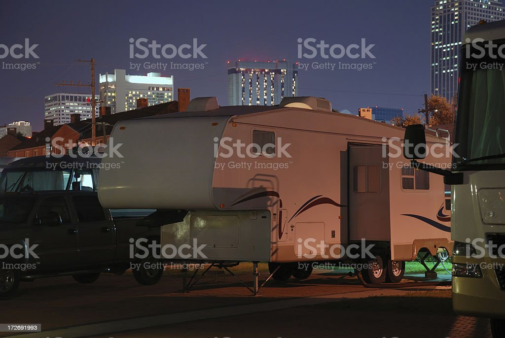 Camping in the city at night stock photo
