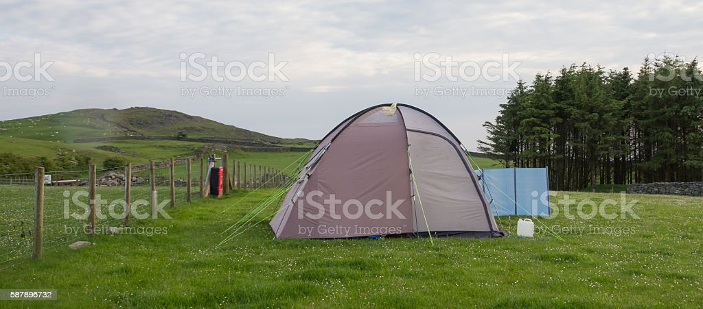 Camping in the countryside. stock photo