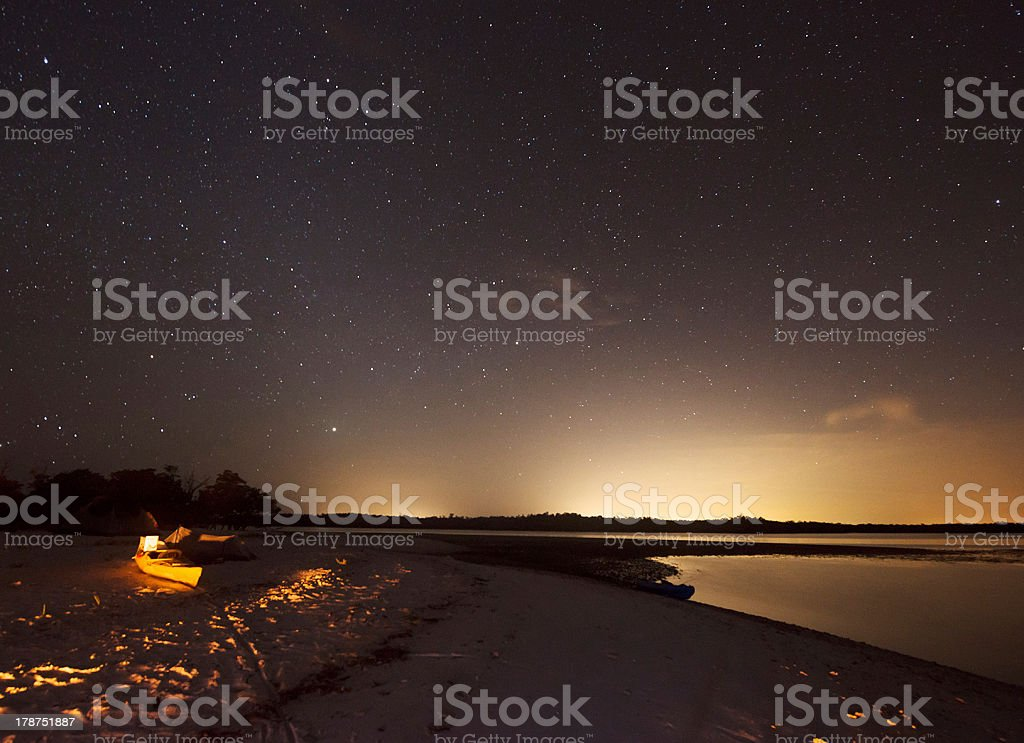 Camping in the Everglades at Night stock photo