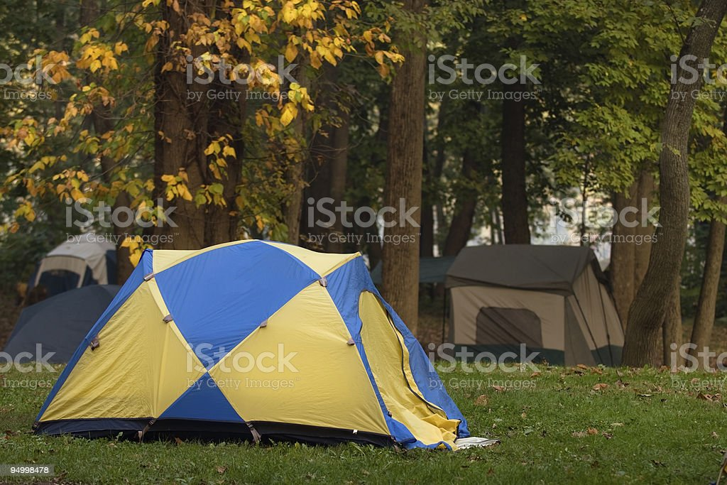 Camping in the fall stock photo