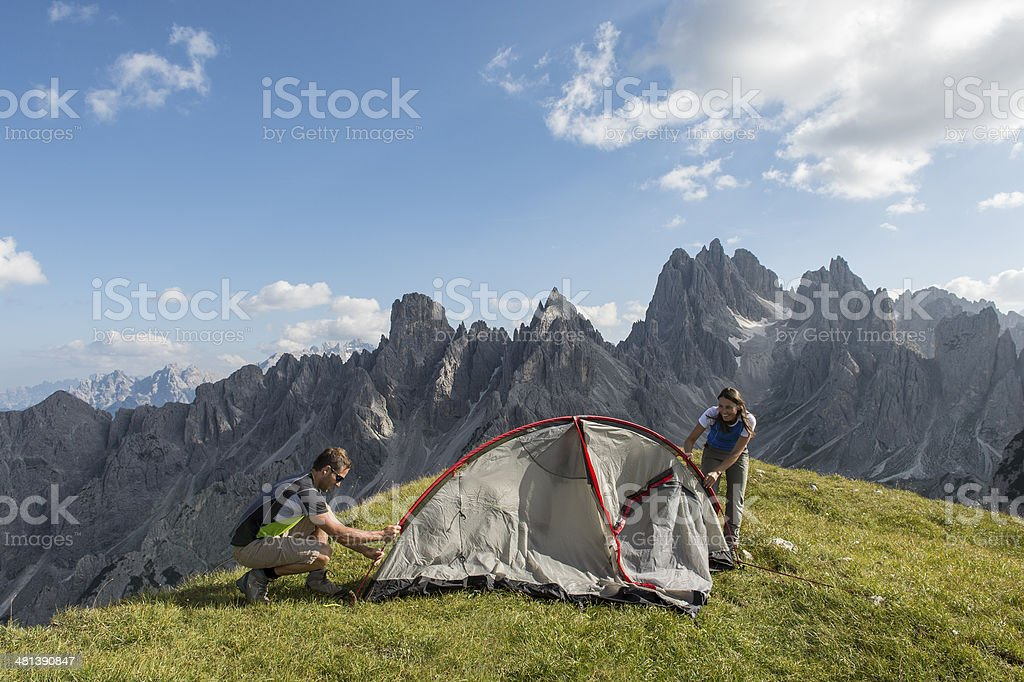 camping in the heart of the Dolomites royalty-free stock photo