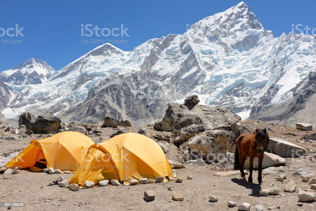 Camping in the Himalayas stock photo
