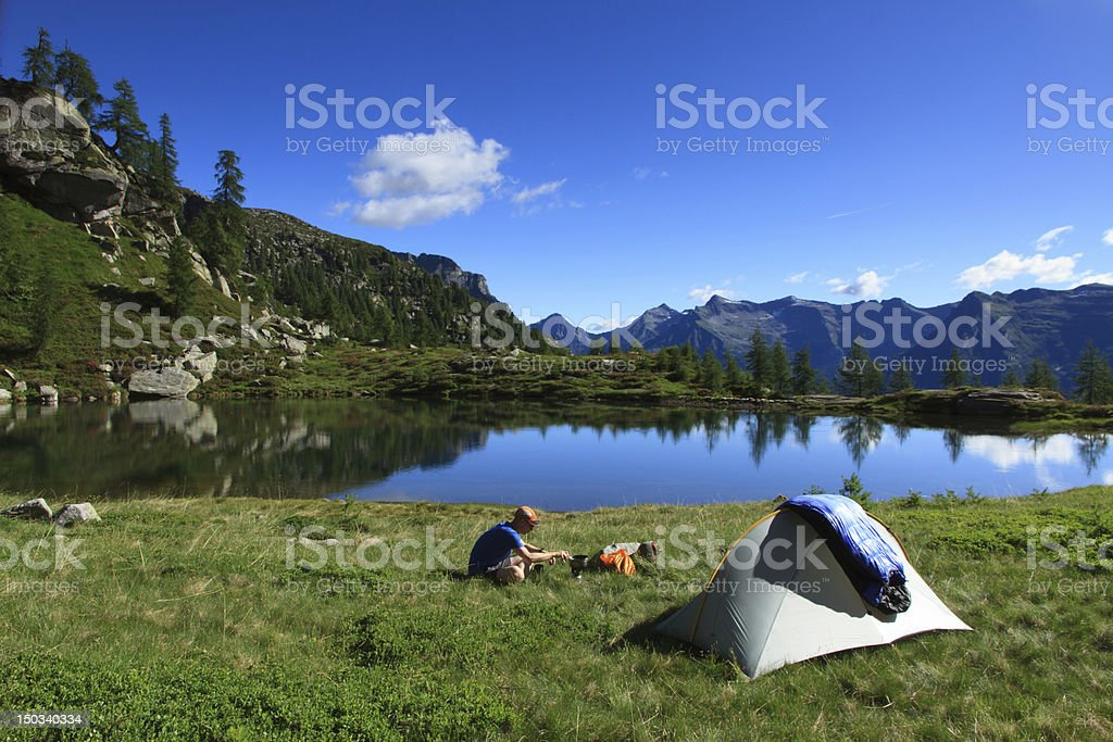 Camping in the mountains stock photo