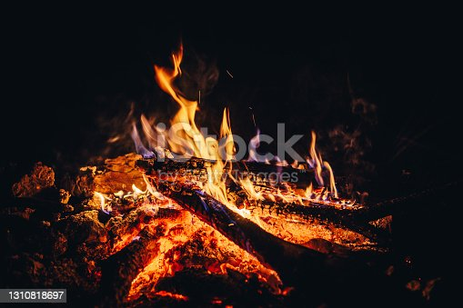 A bonfire at night