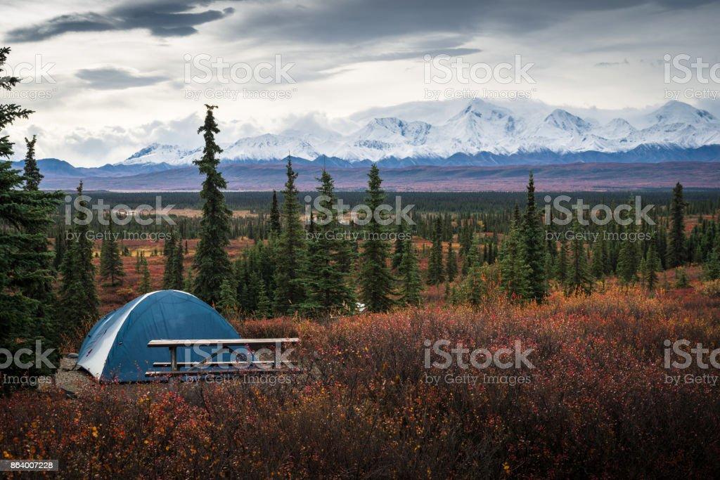 Camping in the Wonder Lake campground, Denali National Park stock photo
