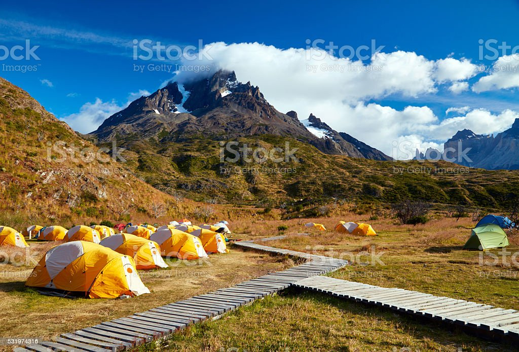 Camping in Torres del Paine national park.  Patagonia, Chile stock photo