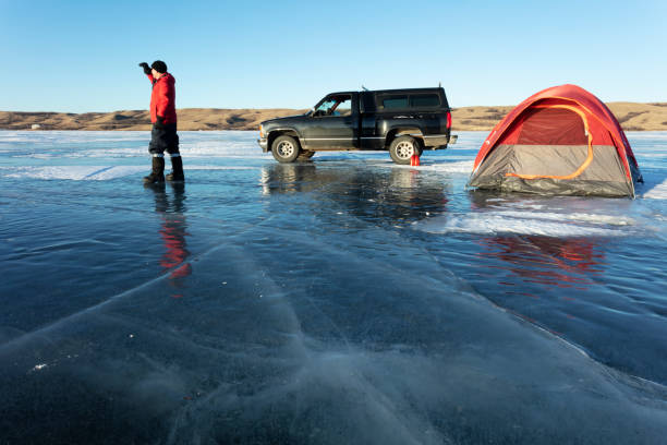 Camping In Winter Saskatchewan Canada Buffalo Pound Provincial Park stock photo